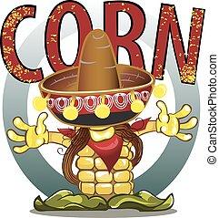Corn cobs on white background.