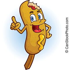 A smiling corn dog cartoon character pointing his finger with attitude