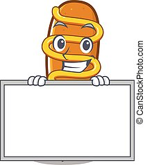 Corn dog cartoon design concept grinning with board