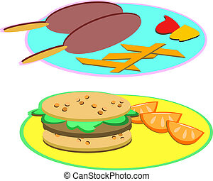 Corn Dogs and Hamburger Plates - Here are two plates of fun...