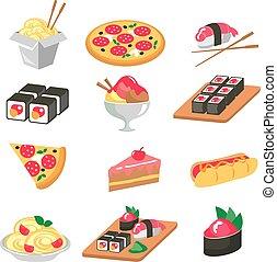 corn., ensemble, légumes, nourriture, viande, icônes, -, illustration, fruit, vecteur, divers