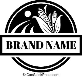 Corn Farm organic circle black vector logo design