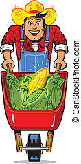 Corn Farmer - Happy Smiling Corn Farmer with Wheelbarrow...