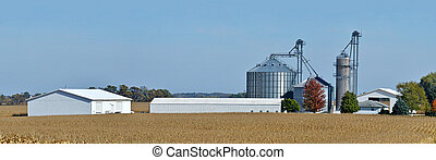 corn field with farm and grain bins