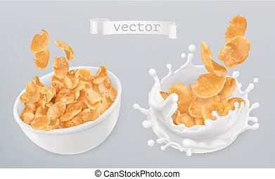 Corn flakes and milk splashes. 3d realistic vector icon set