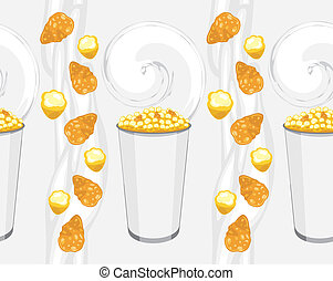 Corn flakes and popcorn. Background