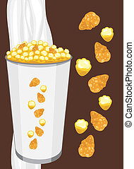 Corn flakes and popcorn