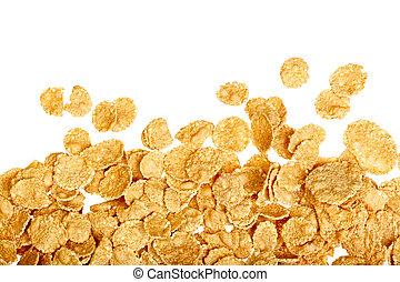 Corn flakes background on white
