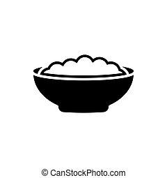 Corn flakes black icon on white background. Breakfast illustration