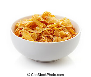 Corn flakes bowl isolated on white