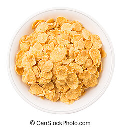 Corn flakes breakfast cereal in a white bowl over white background
