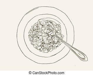 Corn flakes cereal ,sketch vector.