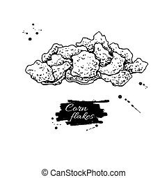 Corn flakes hand drawn vector illustration. Heap of granola muesli. Morning cereals in hand drawn