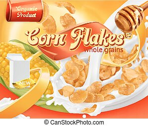 Corn flakes, honey and milk splashes. 3d realistic vector, package design
