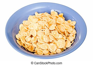 Corn flakes in a blue plate on a white background