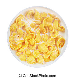 Corn flakes with milk in bowl, isolated on white background