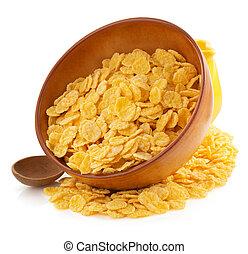 corn flakes in bowl on white