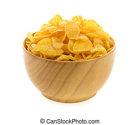 corn flakes in wood bowl isolated on white background