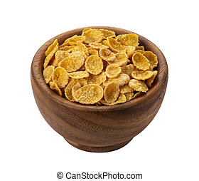 Corn flakes in wooden bowl isolated on white background