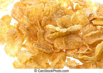 Isolated macro image of corn flakes.