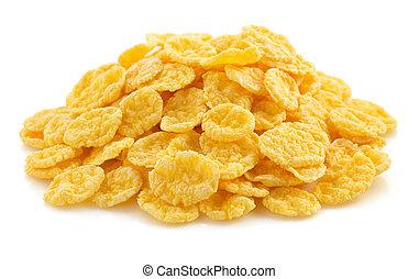 corn flakes on white
