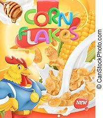 Corn flakes, rooster mascot. Honey and milk splashes. 3d realistic vector, package design
