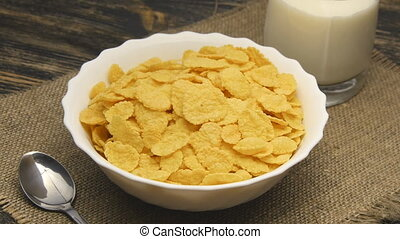 corn-flakes rotating on table - corn-flakes rotating on...