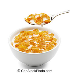 corn flakes - bowl of corn flakes isolated on white