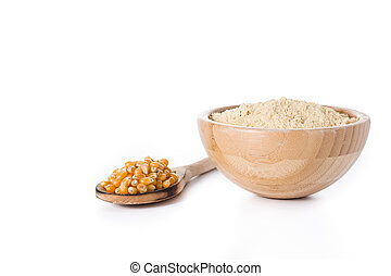 Corn flour in bowl isolated on white background.