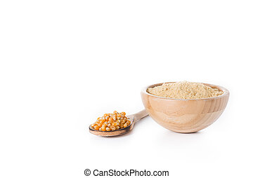 Corn flour in bowl isolated on white background
