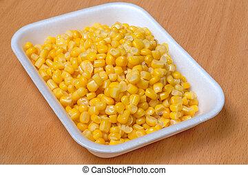 Corn grain in the container