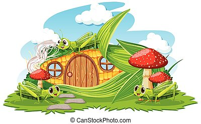 Corn house with three grasshoper cartoon style on white background