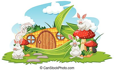 Corn house with three rabbit cartoon style on white background