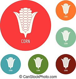 Corn icons circle set vector