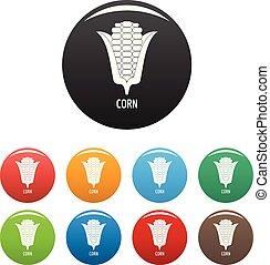 Corn icons set color vector