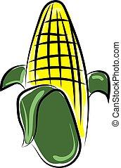Corn, illustration, vector on white background.
