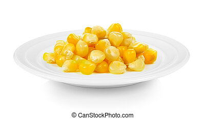 corn in a plate on white background