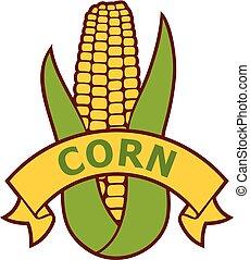 corn label (corncob with green leaves)