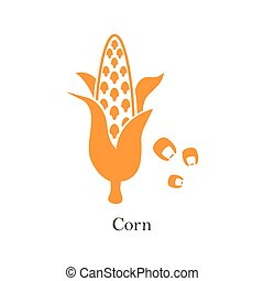 Corn logo. Isolated corn on white background