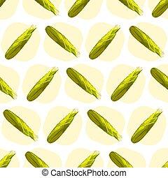 Corn maize vector seamless pattern. Realistic botanical illustration.