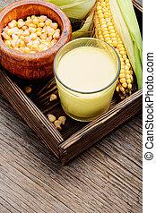 Corn milk in glass