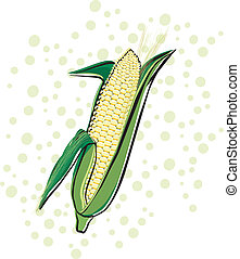 Corn on a polka dot background. Background is on a separate...
