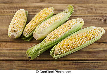 corn on a wooden table