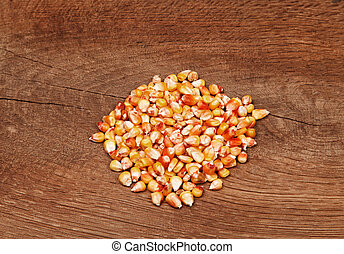Corn on the background of wooden boards