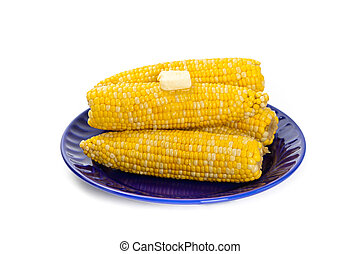 Corn on white background. Selective soft focus.