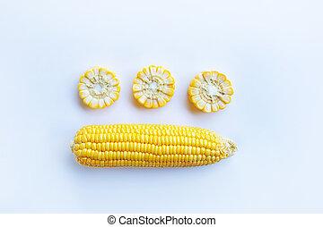 Corn on white background