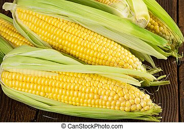 corn on wooden background