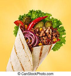 corn., pepe, cipolla, messicano, jalapeno, carne, cetrioli,...