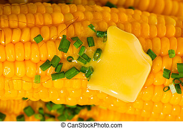 Corn - Cooked corn with butter and chives on white...