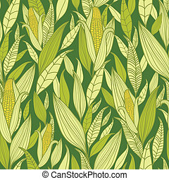 Corn plants seamless pattern background - Vector corn plants...